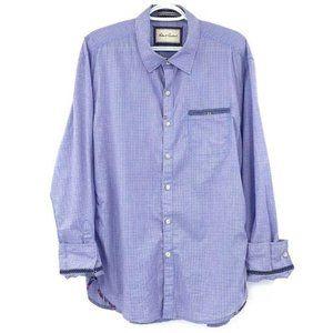 Robert Graham Tailored Fit Blue Plaid Dress Shirt